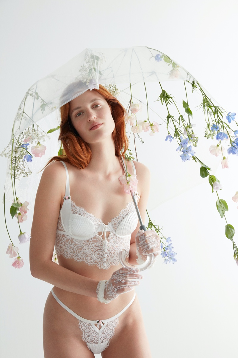 For Love & Lemons x Victoria's Secret Freya Lace Bustier & Thong.