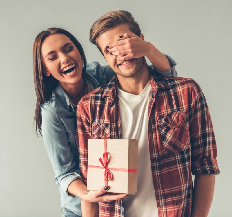 Girlfriend Gifting Boyfriend Box Covered Eyes