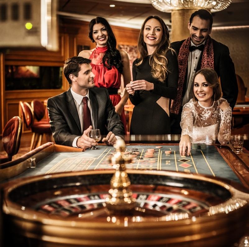 Glamorous Group Women Men Casino Game