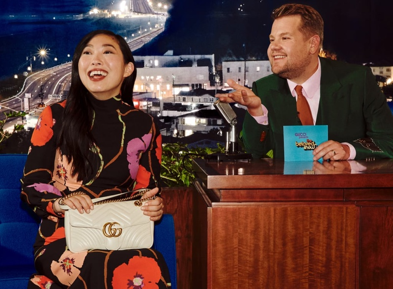 Awkwafina poses for Gucci Beloved Talk Show handbag campaign.
