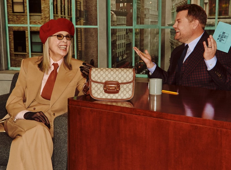 Diane Keaton appears in Gucci Beloved Talk Show handbag campaign.