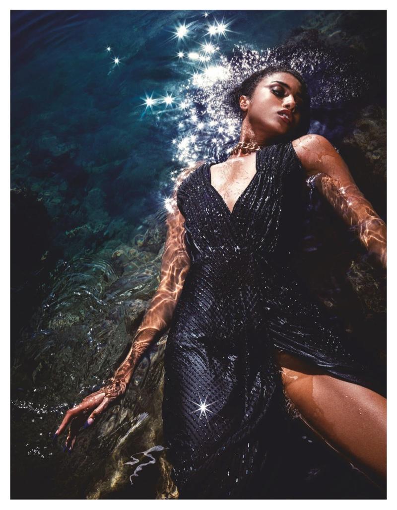Imaan Hammam Is a Stunning Sea Siren for Vogue Japan