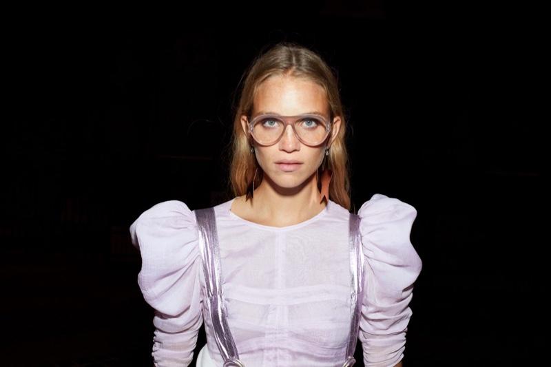 Model Rebecca Leigh Longendyke poses for Isabel Marant spring-summer 2021 campaign.