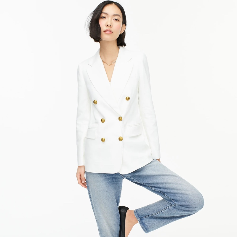 J. Crew Double-Breasted Blazer Stretch Linen in White $198