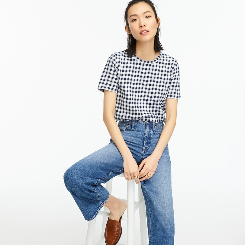 J. Crew New Vintage Cotton Crewneck T-Shirt in Gingham $39.50