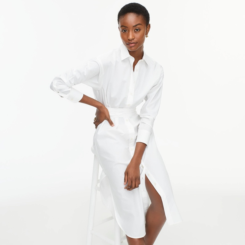 J. Crew Relaxed-Fit Crisp Cotton Poplin Shirtdress in White $128