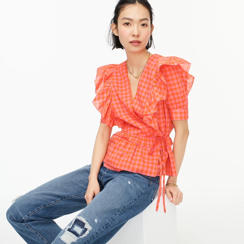 J. Crew Ruffle Wrap Top Orange Pink $98