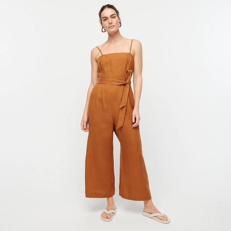 J. Crew Tie-Waist Linen Jumpsuit in Burnished Pecan $128