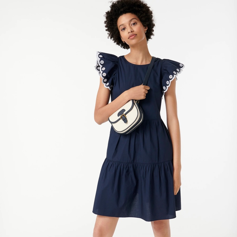 J. Crew Tiered Embroidered Ruffle-Sleeve Dress in Navy $138