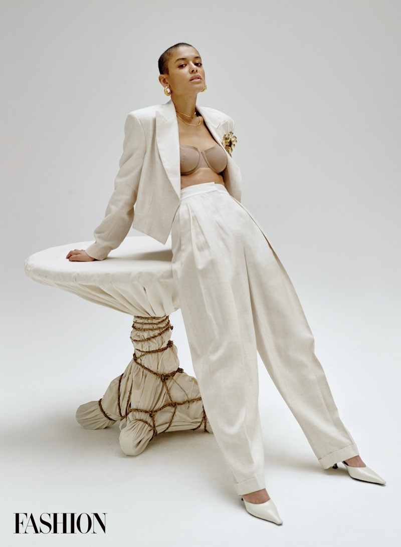 Suiting up, Jordan Alexander wears Stella McCartney jacket and pants.