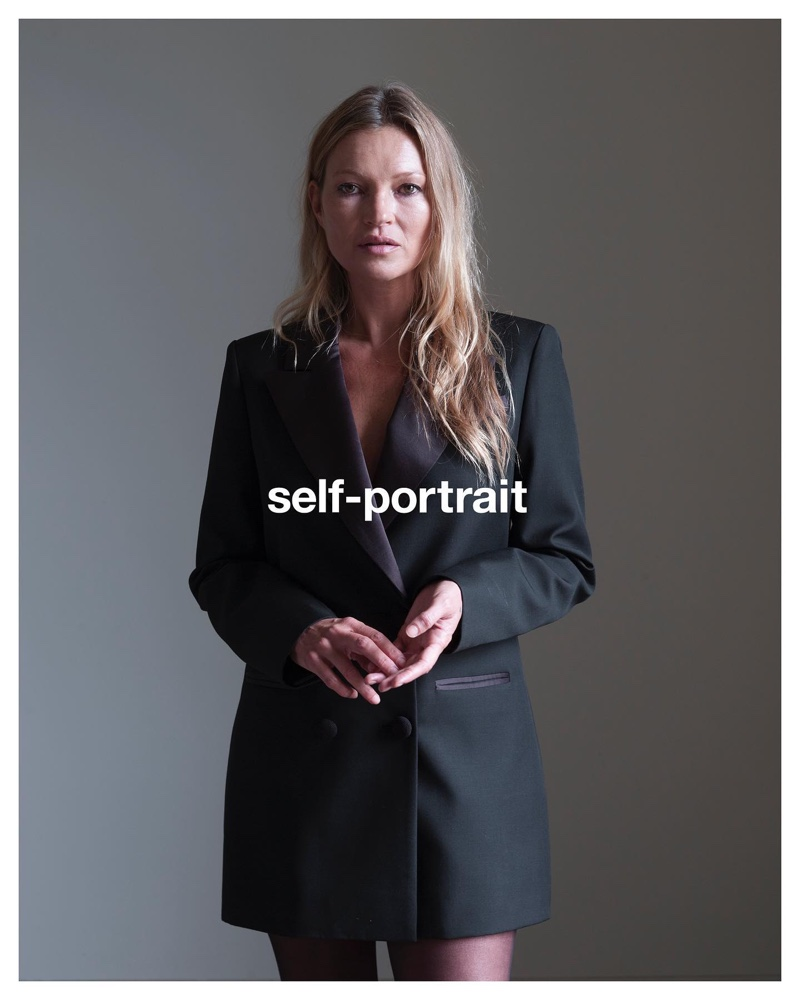 Kate Moss wears black blazer for Self-Portrait pre-fall 2021 campaign.