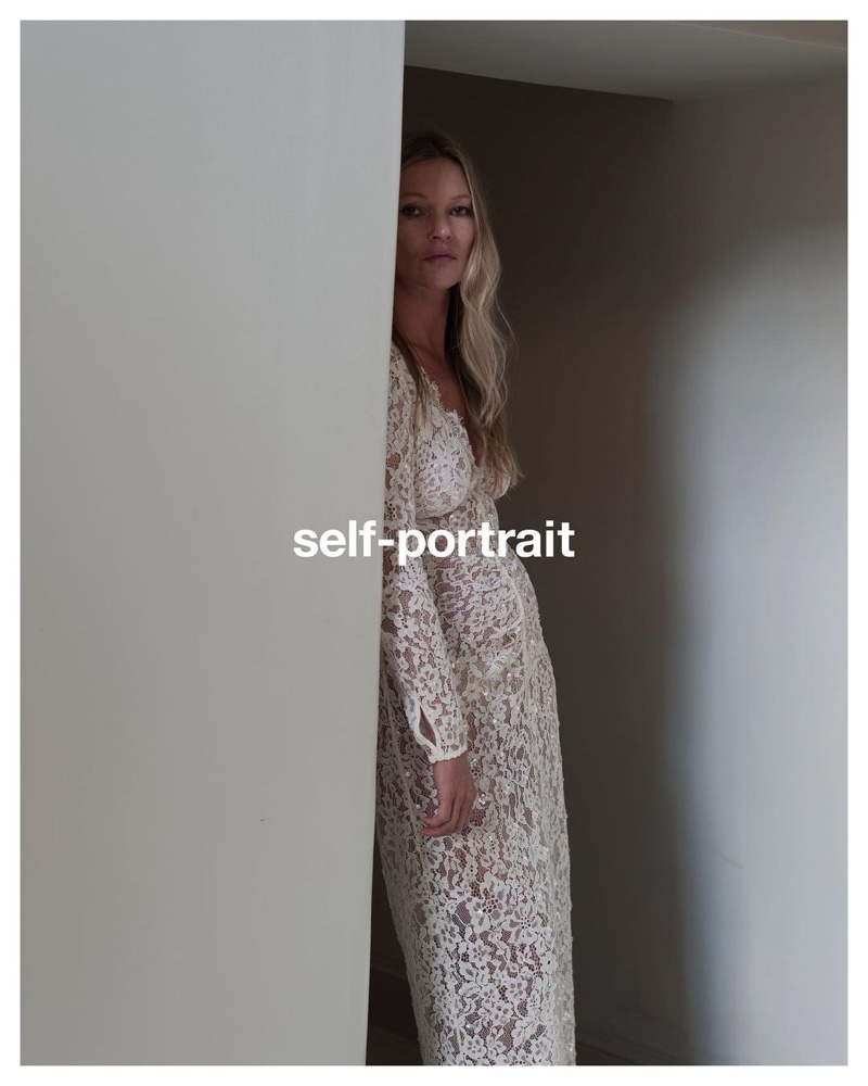 Kate Moss poses for Self-Portrait pre-fall 2021 campaign.