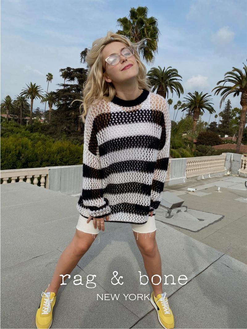 Actress Kiernan Shipka poses in Los Angeles for Rag & Bone Eyewear spring-summer 2021 project.