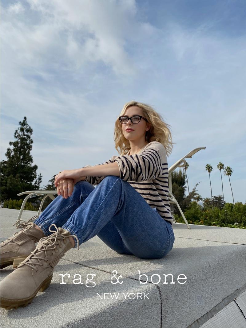 Looking casual, Kiernan Shipka wears Rag & Bone Eyewear's spring-summer 2021 collection.