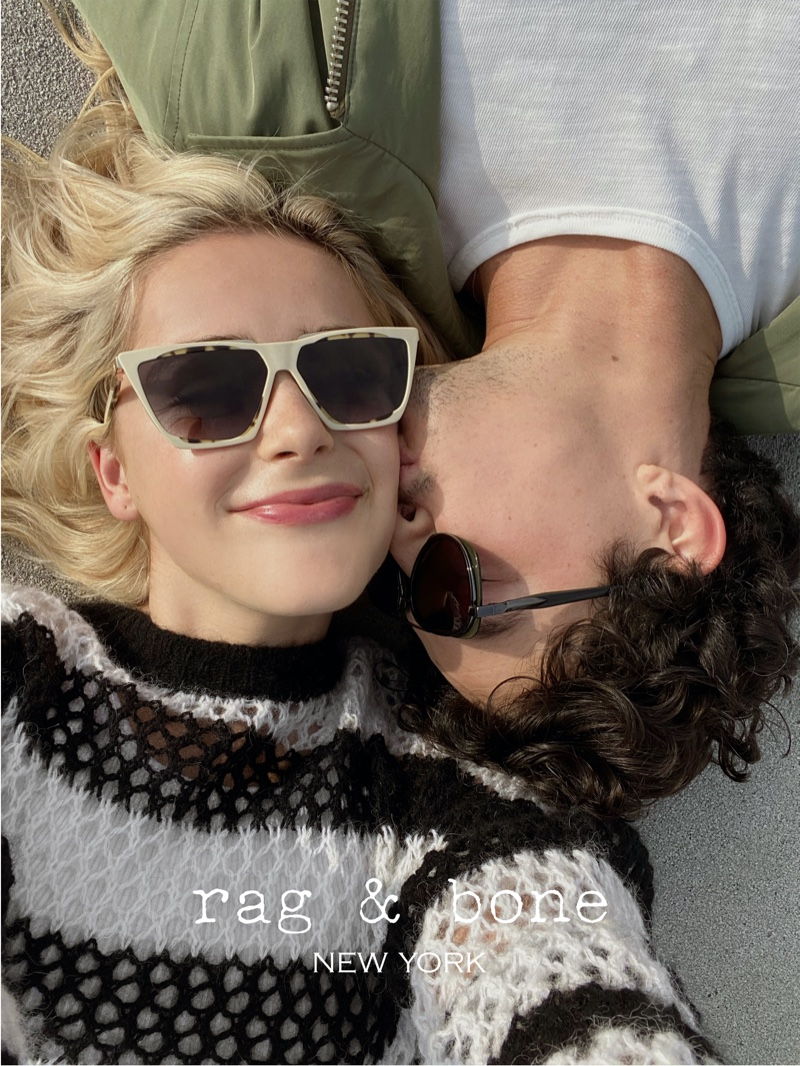 Kiernan Shipka and Gavin Leatherwood cuddle up in Rag & Bone Eyewear spring-summer 2021 project.