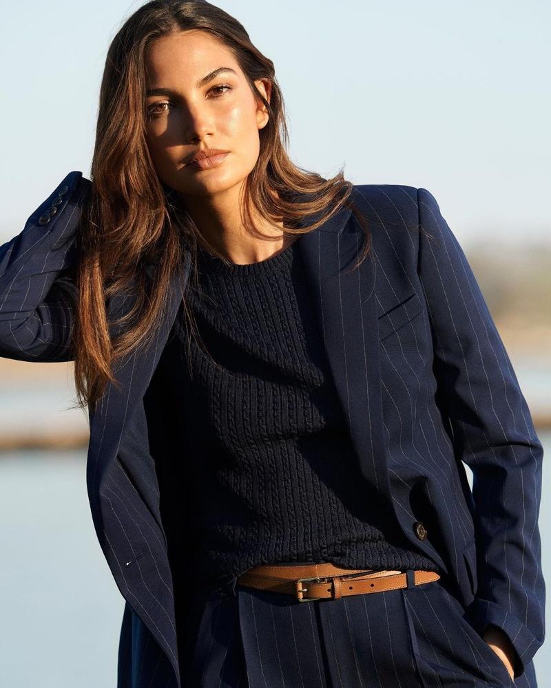 Lily Aldridge wears blazer stylings from Lauren Ralph Lauren spring 2021 collection.