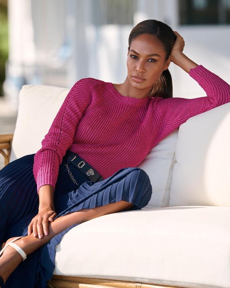 Model Joan Smalls looks pretty in pink for Lauren Ralph Lauren spring 2021 campaign.