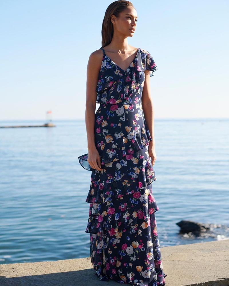 Joan Smalls wears floral georgette gown in Lauren Ralph Lauren spring 2021 campaign.