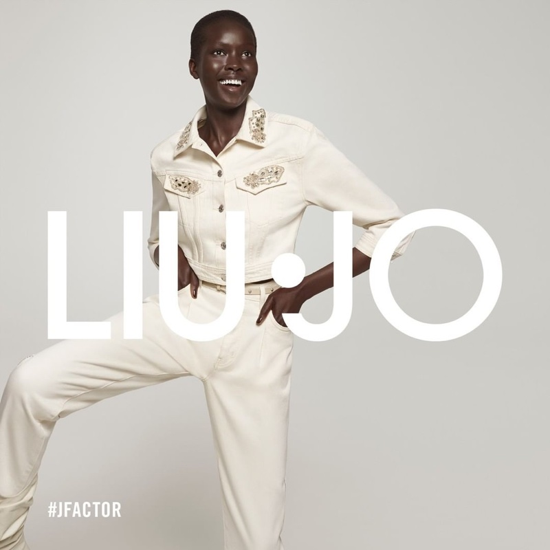 Ajok Madel appears in Liu Jo spring-summer 2021 campaign.