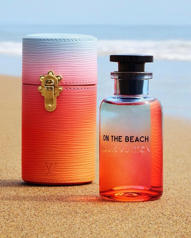 A look at Louis Vuitton's On the Beach fragrance bottle and travel case.