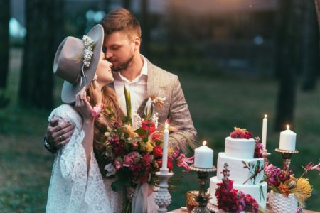 Loving Wedding Couple Cake Candle Outdoors