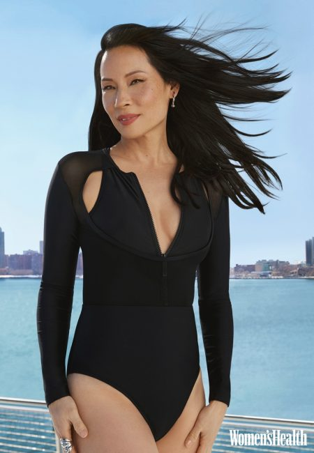 Clad in black, Lucy Liu wears swimsuit look.