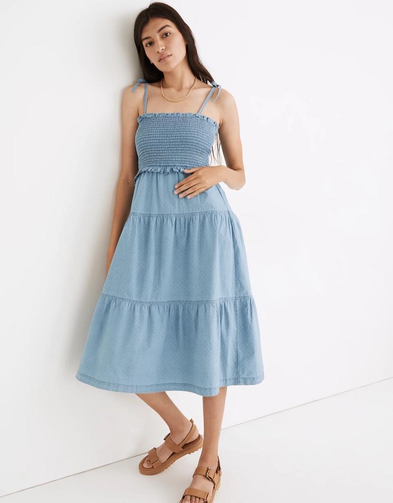Madewell Denim Lucie Tie-Strap Smocked Midi Dress $118