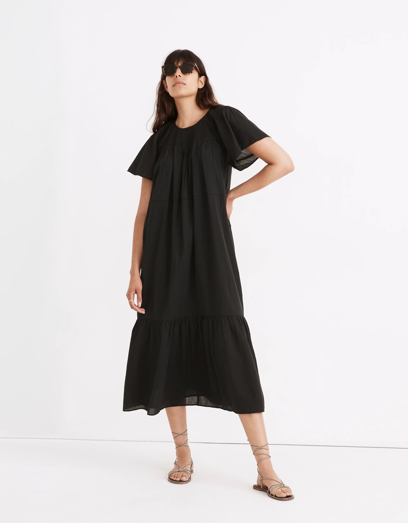 Madewell Embroidered Smocked Midi Dress $148