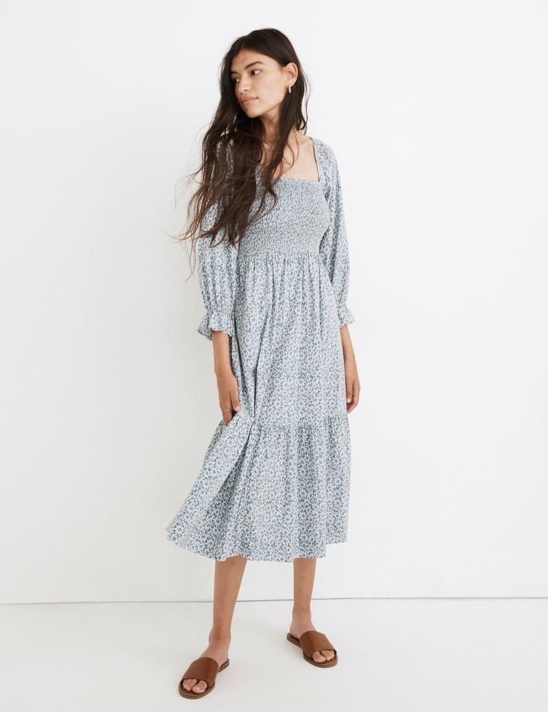 Madewell Lucie Elbow-Sleeve Smocked Midi Dress in Sunflower Field $128