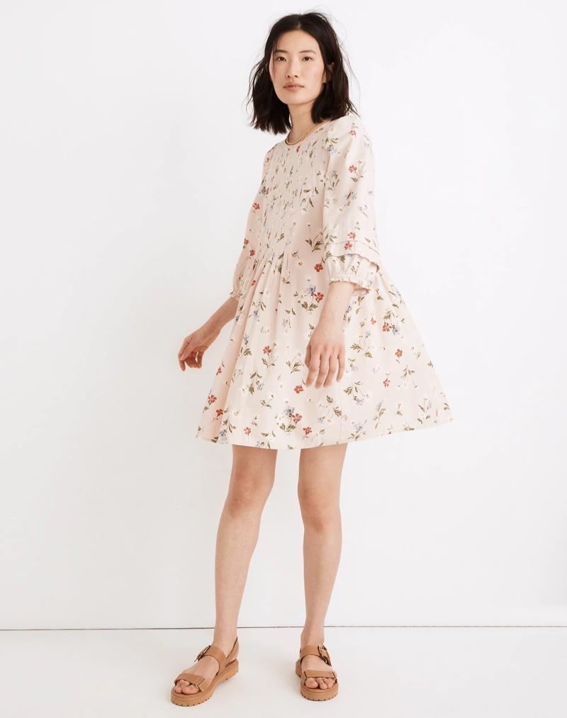 Madewell Pintuck Puff-Sleeve Mini Dress in Seaside Floral $128
