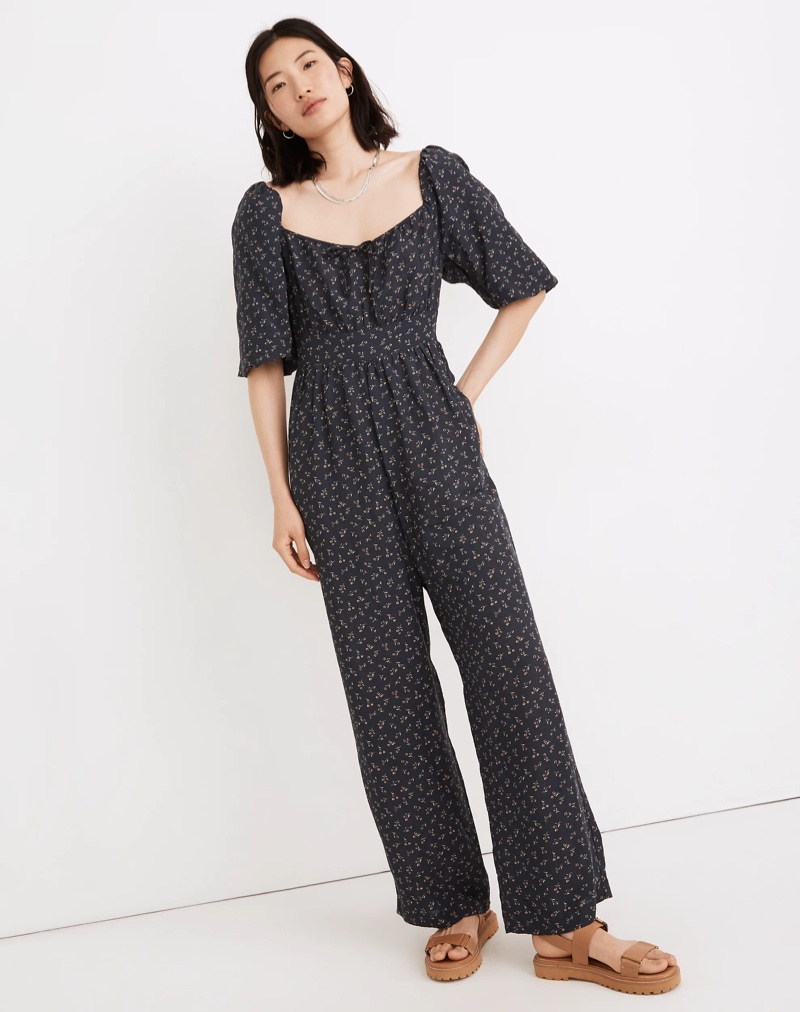 Madewell Square-Neck Bubble-Sleeve Jumpsuit in Spring Fling $148