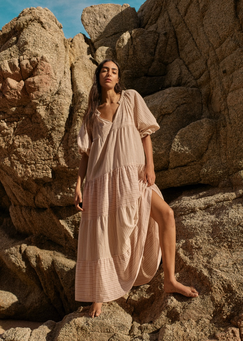 Nora Attal models Mango Committed Effortless spring-summer 2021 collection.