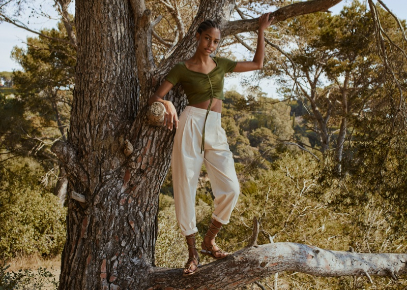 Karly Loyce poses for Mango Committed Effortless spring-summer 2021 collection.