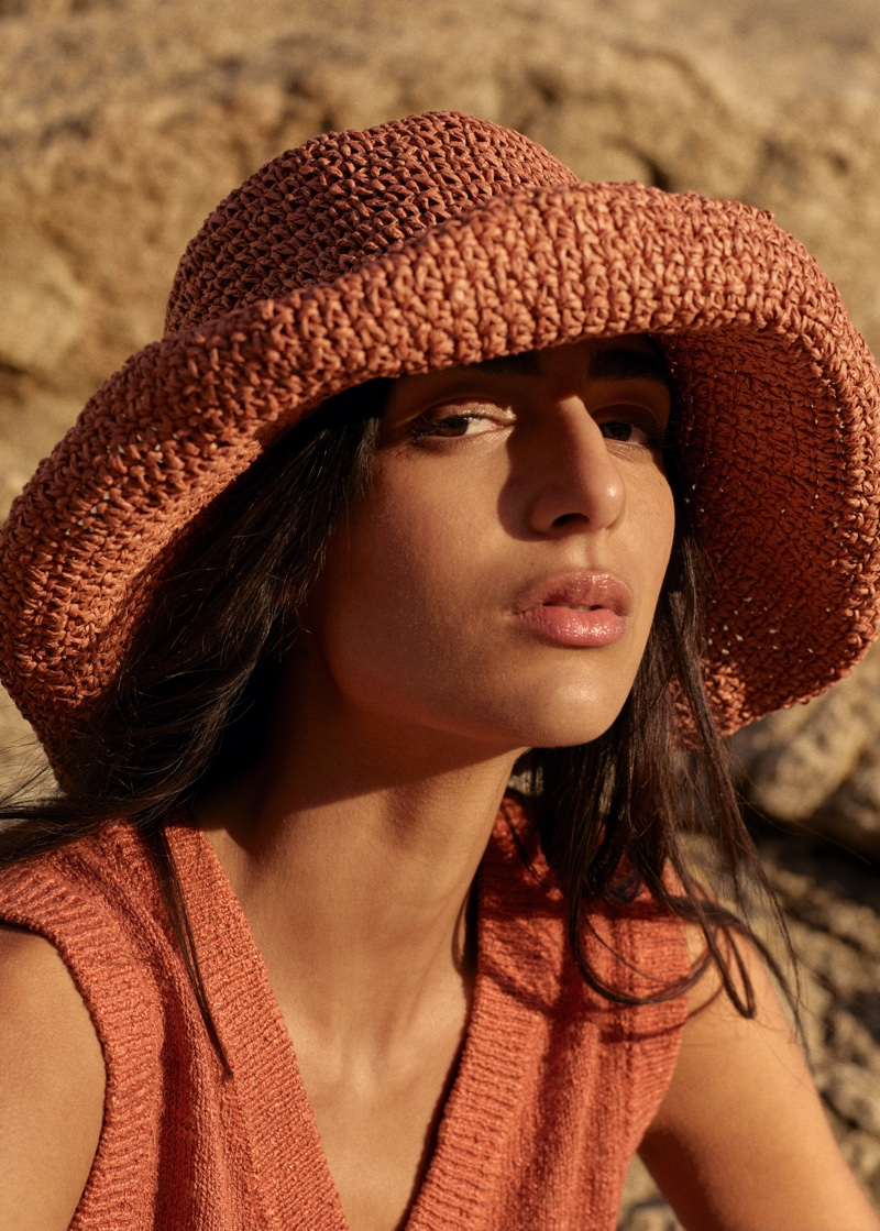 Nora Attal gets her closeup in Mango Committed Effortless spring-summer 2021 collection.