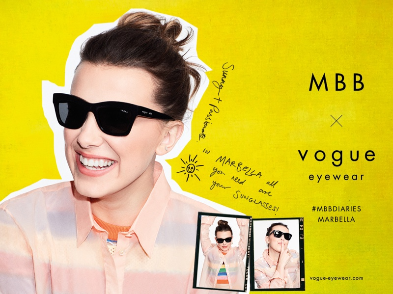 Millie Bobby Brown flashes a smile in MBB x Vogue Eyewear 2021 campaign.