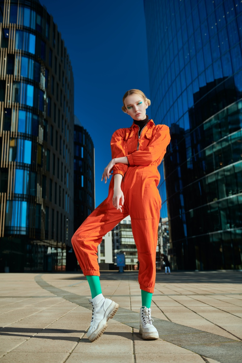 Model Orange Jumpsuit Fashion Street Shot
