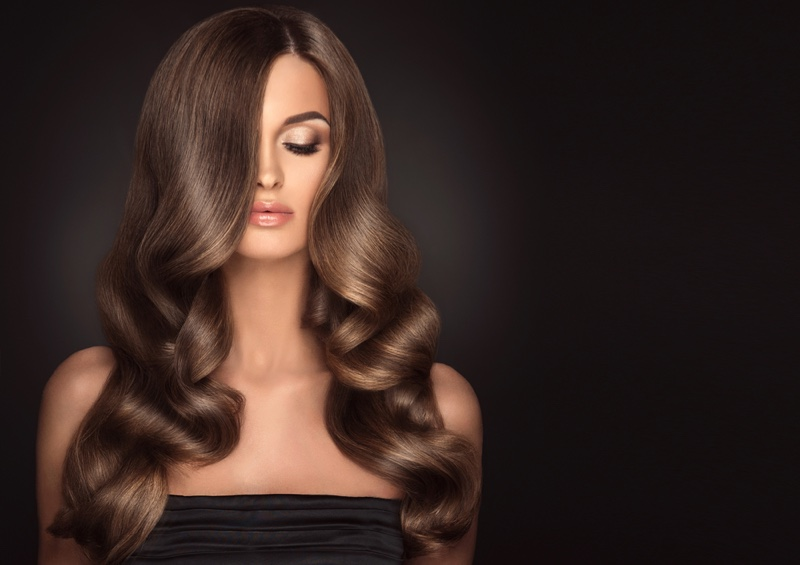 Model Polished Brown Hairstyle Waves