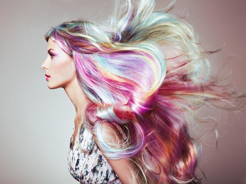 Model Rainbow Hair Wig Multicolored Pastel