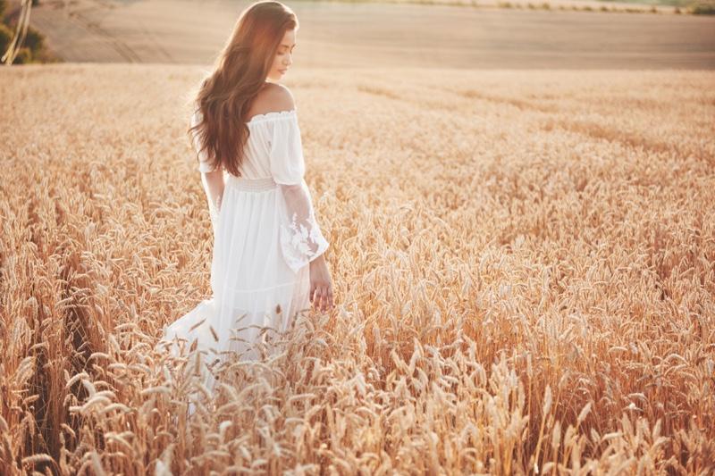 Model White Dress Lace Detail Wheat Field Sun Fashion