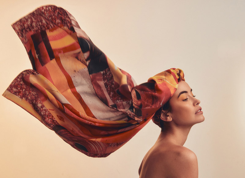 Sarah wears Discover Colour Silk Scarf. Photo: Charles Grant