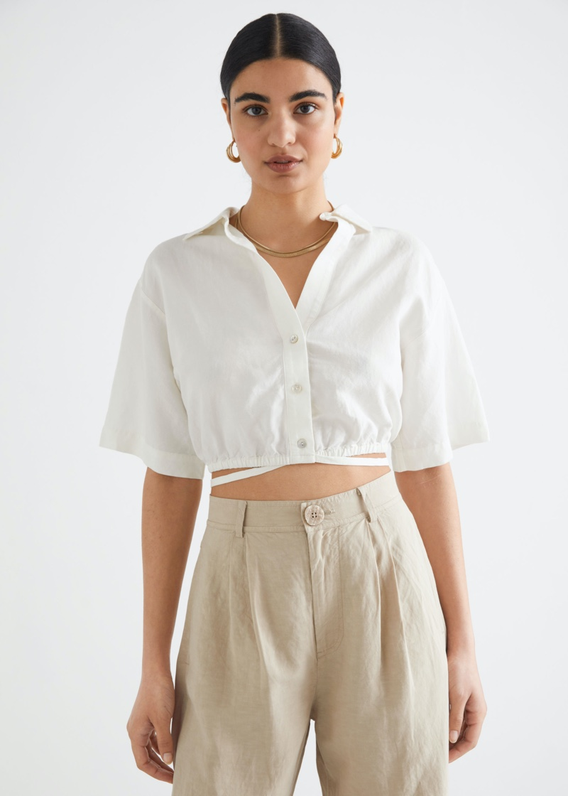 & Other Stories Buttoned Tie Detail Crop Top $69