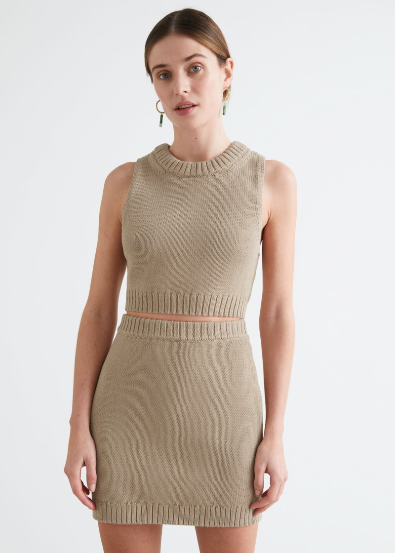& Other Stories Knitted Sleeveless Top $59 & Mini Skirt $69