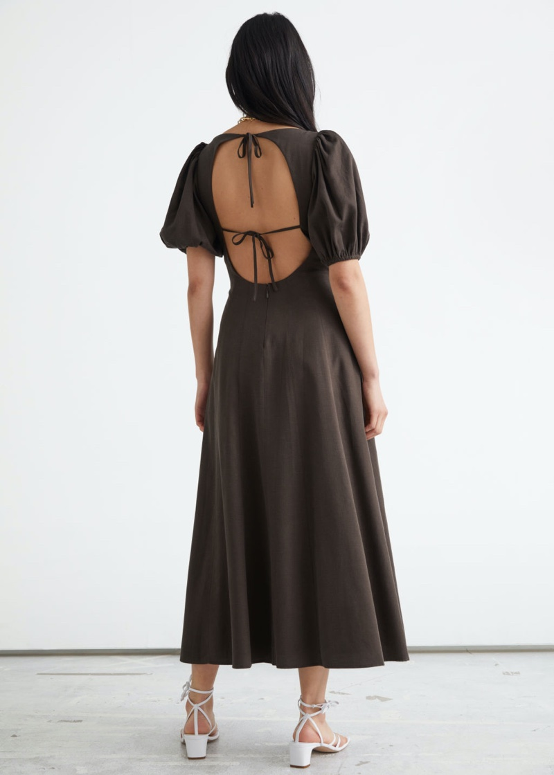 & Other Stories Open Back Puff Sleeve Midi Dress in Brown $129