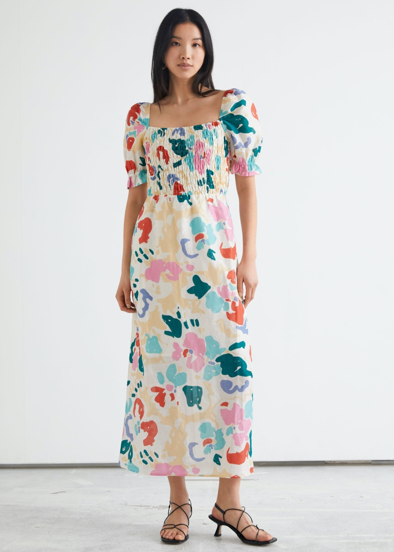 & Other Stories Puff Sleeve Midi Dress in Abstract Print $129