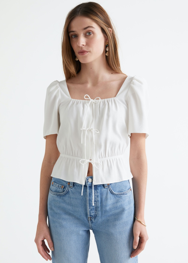 & Other Stories Puff Sleeve Spaghetti Tie Top $69