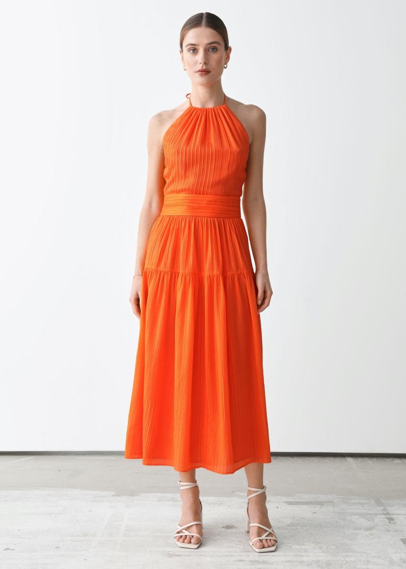 & Other Stories x Rejina Pyo Mulberry Silk Halter Midi Dress $219