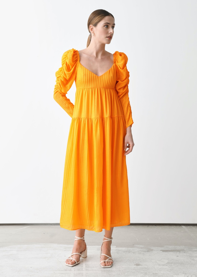 & Other Stories x Rejina Pyo Mulberry Silk Puff Sleeve Midi Dress $249