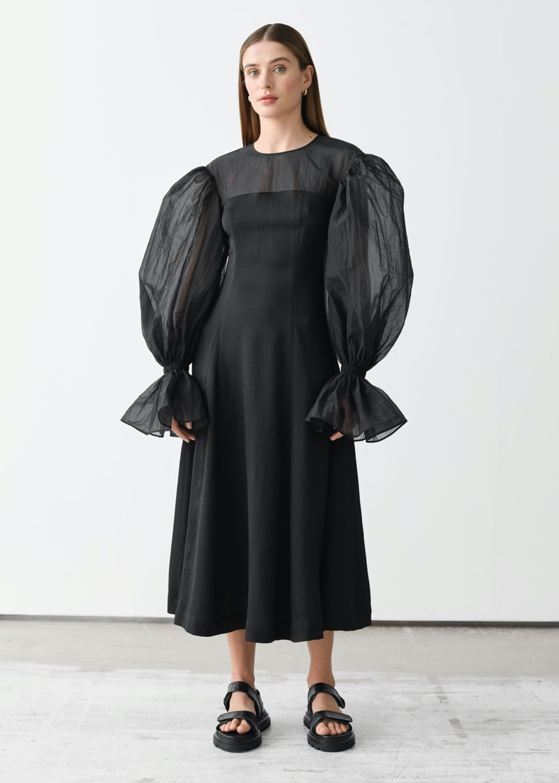 & Other Stories x Rejina Pyo Organza Sleeve Silk Mdii Dress $249