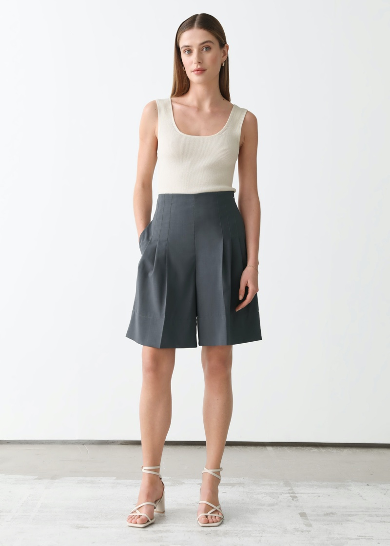 & Other Stories x Rejina Pyo Pleated High Waist Wool Shorts $119