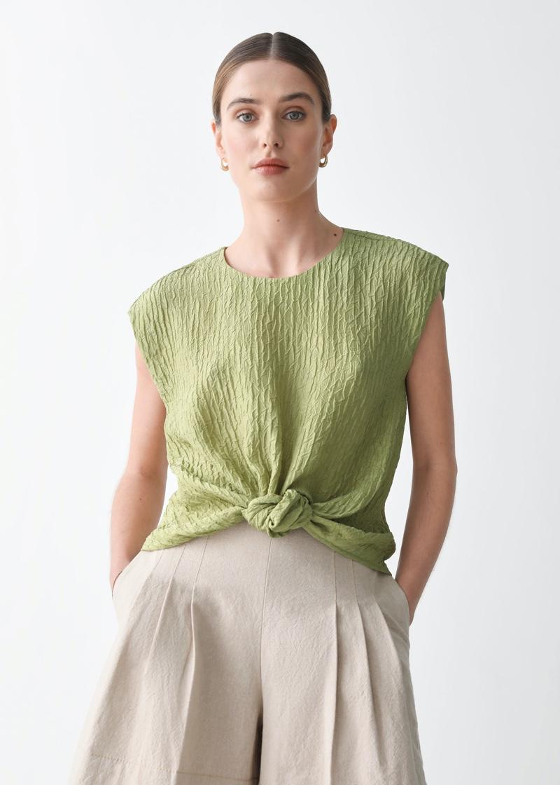 & Other Stories x Rejina Pyo Textured Mulberry Silk Top $119